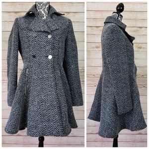 Liz Claiborne Gray Fit & Flare Trench Coat
